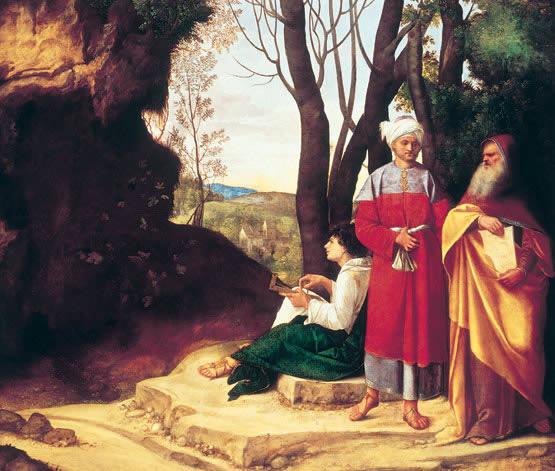 Filósofos de Viena: Los tres filósofos (1505), óleo de Giorgione. Viena, Kunsthistorisches Museum